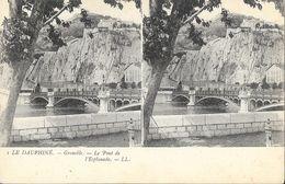 Le Dauphiné, Grenoble - Le Pont De L'Esplanade - Carte Stéréoscopique LL N° 1 Dos Simple, Non Circulée - Stereoscopische Kaarten