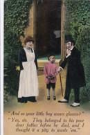 AQ87 Bamforth Postcard - Young Boy With His Dad's Glasses - Humor