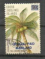 """Coconut Tree, Surchargé """"Official Paid Mainland"""".    Rare-scarce  (one Only Available) Oblitéré 1 ère Qualité - Cocos (Keeling) Islands"""