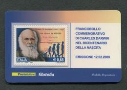 ITALIA 2009 - TESSERA FILATELICA - ANNIVERSARIO NASCITA CHARLES DARWIN  - MNH**- 263 - 6. 1946-.. Republik