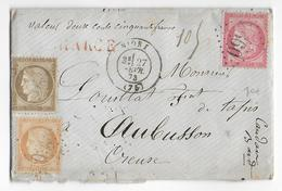 1873 - TRICOLORE CERES/SIEGE - LETTRE CHARGEE De NIORT (DEUX-SEVRES) => AUBUSSON - 1849-1876: Période Classique