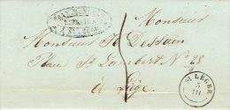 LAC Du 05/031844 Avec T18 De SAINT-LEGER Vers LIEGE H. DESSAIN Imprimeur - Cachet De BRAY MONNEAU Libraire à ST-LEGER - 1830-1849 (Belgique Indépendante)