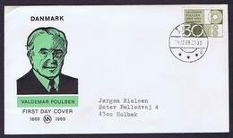 Denmark 1969; The 100th Anniversary Of The Birth Of Inventor Valdemar Poulsen On Cover - Danemark