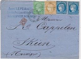Lettre N°35,55,60x2 Rochefort Sur Mer Charente Pour Skien Norvège - 1849-1876: Période Classique