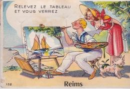 CARTE A SYSTÈME MULTIVUES- RELEVEZ LE TABLEAU ET VOUS VERREZ REIMS (2 Scans) - Postcards