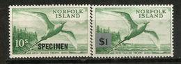 Oiseau Phaéton à Brins Rouges,   2 Timbres Surchargés   .  Année 1960.  Neufs **  Forte Côte - Ile Norfolk