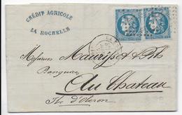 1871 - TYPE BORDEAUX - LETTRE 2° ECHELON De LA ROCHELLE (CHARENTE INFERIEURE) - Postmark Collection (Covers)