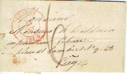 LAC  Du  17/10/1844 De THIELT Vers LIEGE H. DESSAIN Imprimeur - Port De 6 Décimes - 1830-1849 (Belgique Indépendante)
