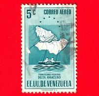 VENEZUELA - Usato - 1953 - Mappa Del Territorio Federale Del Delta Amacuro - 5 - P. Aerea - Venezuela