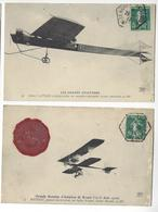 2 DOCUMENTS AVEC CACHET ROUEN AVIATION 26 JUIN 1910 BATHIAT + LATHAM /FREE SHIPPING REGISTERED - Marcophilie (Lettres)