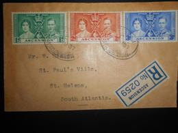 Ascension Lettre Recommandee 1937 Pour St Helene - Ascension (Ile De L')