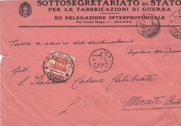 BUSTA VIAGGIATA - SOTTOSEGRETARIATO DI STATO PER LE FABBRICAZIONE DI GUERRA XII DELEGAZIONE INTERPROVINCIALE MILANO - 1900-44 Vittorio Emanuele III