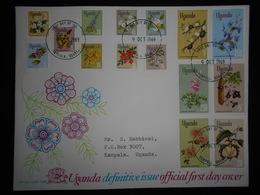 Ouganda Fdc 1969 Kampala ,serie Fleurs 15 Timbres , Joli Document - Ouganda (1962-...)