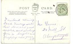 FELINFACH R.S.O. RAILWAY POSTMARK - CARDIGANSHIRE - On HEARTY GREETINGS POSTCARD - Postmark Collection