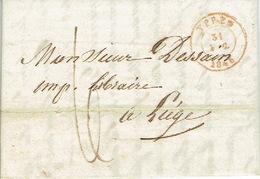 LAC  Du  31/12/1846 De YPRES Naar LIEGE H. DESSAIN Drukker - Getekent LAMBIN VERWAERT Drukker Te IEPER - 1830-1849 (Belgique Indépendante)