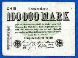 Allemagne  -  100000 Mark  25/7/1923 - Pick # 91   -  état  TB - [ 3] 1918-1933 : República De Weimar