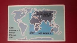 DJIBOUTI 1994 IMPERF ND SUBMARINE WIRE INTERNET CABLE SOUS MARIN YT 10  Michel 149 BLOC BLOCK SHEET SEA ME WE MNH - RARE - Djibouti (1977-...)