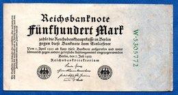 Allemagne  -  500  Mark  7/8/1922 - Pick # 74  -  état  TTB - [ 3] 1918-1933: Weimarrepubliek