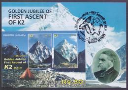 PAKISTAN 2004 - Golden Jubilee Of First Ascent Of K2 Mountains, K-2 Souvenir Sheet On MAXIMUM CARD - Pakistan