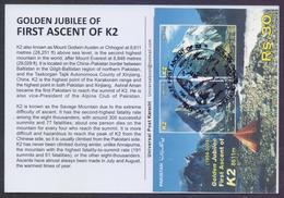 PAKISTAN 2004 - Golden Jubilee Of First Ascent Of K2 Mountains, K-2 Souvenir Sheet On Back Side Of MAXIMUM CARD - Pakistan