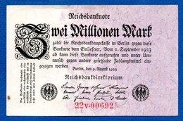 Allemagne  -  2 Millionen   Mark  9/8/1923   - Pick # 103 -  état  TTB - [ 3] 1918-1933 : República De Weimar