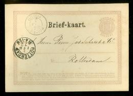 HANDGESCHREVEN BRIEFKAART VOORDRUK 2 1/2 Ct Nvph Nr 18 GELOPEN IN 1872 Van GOUDA Naar ROTTERDAM (11.449u) - Ganzsachen