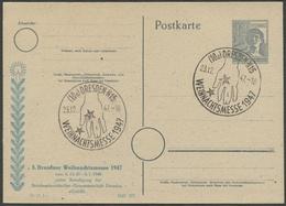 ALLIIERTE BESETZUNG 1947, SONDER-PK, SST DRESDEN, WEIHNACHTSMESSE, SAMMLERBELEG - Zone AAS