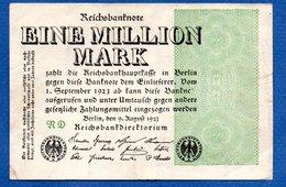 Allemagne  - 1 Millionen  Mark      9/8/1923   - Pick # 102 -  état  TTB - [ 3] 1918-1933: Weimarrepubliek