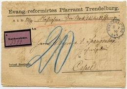 DT.REICH 1899, NACHNAHMEBRIEF PFARRAMT, VIOLET. AUFKLEBER, , STPL-K1 TRENDELBURG - Allemagne