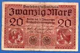 Allemagne  - 20 Mark      20/2/01918   - Pick # 57 -  état  TB- - [ 2] 1871-1918 : Empire Allemand