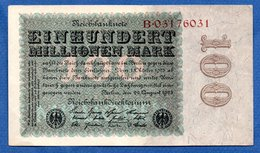 Allemagne  - 100 Millionen Mark      22/8/1923   - Pick # 107 -  état  TTB+ - [ 3] 1918-1933: Weimarrepubliek