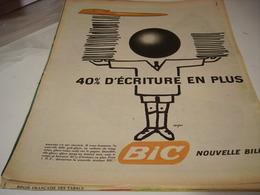 ANCIENNE PUBLICITE STYLO BIC  40% DE PLUS 1961 - Autres Collections