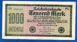 Allemagne  - 1000 Mark     15/9/1922   - Pick # 76 -  état  TTB+ - [ 3] 1918-1933: Weimarrepubliek
