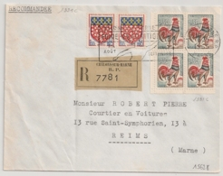 COQ 30C BLOC De 4 ISSU De CARNET, Recommandé CHALONS SUR MARNE. PEU COMMUN Sur Recommandé. - Postmark Collection (Covers)