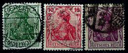Germany 1902-1916, #82, 83, 89, Deutsches Reich, Germania Series, Used, Light Hinge - Germany