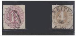 ALLEMAGNE-- SCHLESWIG-HOLSTEIN -- 1/4 SCHILLING ROSE LILAS ET 4 SCHILLING OCRE -- KEITUM-- - Schleswig-Holstein