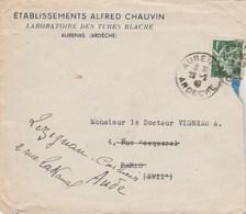 Yvert 432 Iris Sur Lettre Perforé AC Ets Alfred Chauvin Laboratoire Aubenas Ardèche 1940 - Perforés