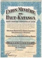 Ancienne Action - Union Minière Du Haut Katanga - Titre De 1937 - N°0145568 - Afrique