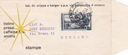 BUSTA VIAGGIATA - LAB. DR. CRIPPA E BERGER S.P.A  - MILANO - DESTINAZIONE BERGAMO - 6. 1946-.. Repubblica