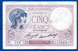 Violet  -  5 Francs 26/5/1933  - état  TB+ - 1871-1952 Antiguos Francos Circulantes En El XX Siglo