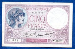 Violet  -  5 Francs 26/5/1933  - Plis Central Sinon TTB - 1871-1952 Anciens Francs Circulés Au XXème