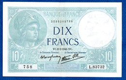 Minerve  -  10 Francs  9/1/1941  - état  SUP - 1871-1952 Circulated During XXth