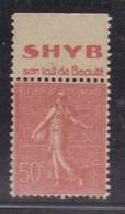 PUBLICITE SEMEUSE LIGNEE 50C ROUGE ACCP SHYB Lait De Beauté HAUT 489   C7 - Advertising