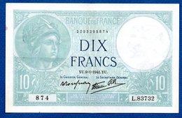 Minerve  -  10 Francs  9/1/1941  - état  SUP - 1871-1952 Anciens Francs Circulés Au XXème