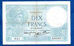 Minerve  -  10 Francs  5/12/1940 - état  TB+ - 1871-1952 Antiguos Francos Circulantes En El XX Siglo