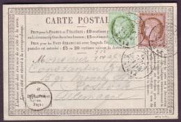 SEINE - CP - Tàd Paris (1530) R DE CLERY Sur N° 53 + N° 54 Pour Rostock (Allemagne), Carte Précurseur - 1849-1876: Periodo Classico