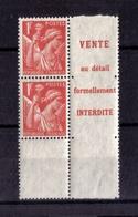 N* 433a (paire Verticale De Carnets Non Confectionnés)  NEUF** - 1939-44 Iris