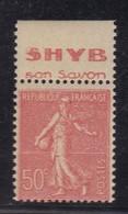 PUBLICITE SEMEUSE LIGNEE 50C ROUGE ACCP SHYB Son Savon HAUT 486**   C7 - Advertising