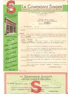 Singer Enveloppe Publicitaire 1955 Accompagnée Lettre De Livraison D'un Moteur Machine à Coudre Cachet Nantes - Textile & Vestimentaire