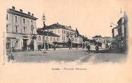 """0569 """"(NO) ARONA - PIAZZALE STAZIONE"""" ANIMATA. CART NON SPED - Novara"""